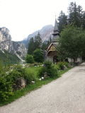 A pretty little church on Braies lake Royalty Free Stock Photo