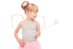 Pretty little fairy holding wand Royalty Free Stock Photography
