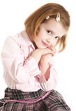 Pretty little girl. On white bacground stock photography