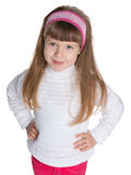 Pretty little girl against the white Royalty Free Stock Images