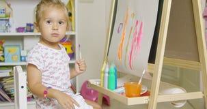 Pretty little girl artist Royalty Free Stock Photos