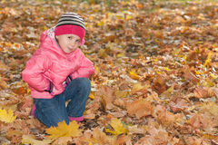 Pretty little girl in the autumn park Royalty Free Stock Photos