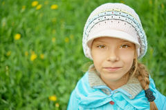 Pretty little girl in autumn park Stock Images