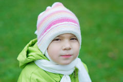 Pretty little girl in autumn park Royalty Free Stock Photography