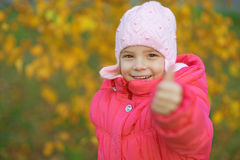 Pretty little girl in autumn park Stock Image