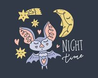 Pretty little bat, moon and stars. Hand drawn set of different elements. Lettering phrase. Vector illustrations royalty free illustration