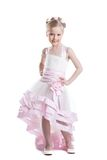 Pretty little girl in beautiful dress isoloated Stock Photography