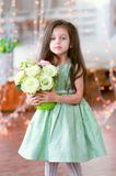 Pretty little girl in beautiful green dress with r Royalty Free Stock Photos