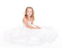 Pretty little girl in beautiful white dress Royalty Free Stock Photography