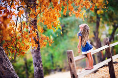 Pretty little girl on beauty autumn landscape background