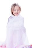 Pretty little girl with blanket Stock Photography