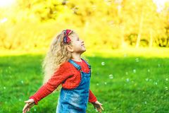 Pretty little girl blowing bubbles in the park. Pretty little girl blowing bubbles in the park stock images