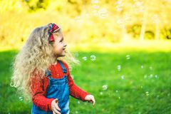 Pretty little girl blowing bubbles in the park. Pretty little girl blowing bubbles in the park stock image