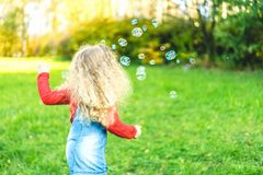 Pretty little girl blowing bubbles in the park. Pretty little girl blowing bubbles in the park royalty free stock photography