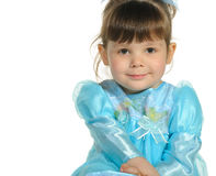 Pretty the little girl in a blue dress Royalty Free Stock Images