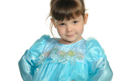 Pretty the little girl in a blue dress Royalty Free Stock Photos
