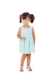 Pretty little girl with blue dress isolated Stock Image