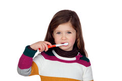 Pretty little girl brushing teeth Royalty Free Stock Photos