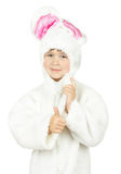 Pretty little girl in bunny costume on white background Stock Image