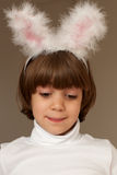 Pretty little girl in bunny ears Royalty Free Stock Image