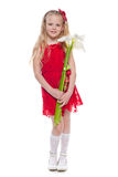Pretty little girl with callas Stock Images