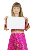 Pretty little girl with card on the white background Stock Photos