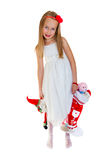 Pretty little girl with Christmas presents Stock Photo