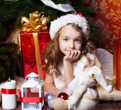 Pretty little girl. Christmas time Stock Photography