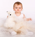 Pretty little girl. Close-up in the studio Stock Images