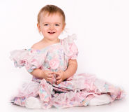 Pretty little girl. Close-up in the studio Stock Photos