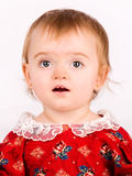 Pretty little girl. Close-up in the studio Stock Photo