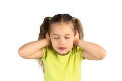 Pretty Little Girl Covering Her Ears Royalty Free Stock Photos