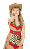 Pretty little girl in cowboy costume on the white background Stock Images