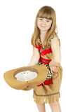 Pretty little girl in cowboy costume on the white background Royalty Free Stock Photography