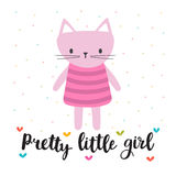 Pretty little girl. Cute little kitty. Romantic card, greeting card or postcard. Illustration with beautiful cat Royalty Free Stock Images