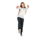 Pretty little girl dancing with a trick on toes Royalty Free Stock Image