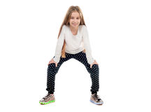 Pretty little girl dancing with a trick on toes Royalty Free Stock Photo