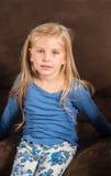 Pretty little girl doesnt feel good Stock Images