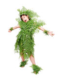 Pretty little girl dressed in green. Plant leafs Stock Image