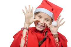 Pretty little girl dressed like a santa clause Stock Image
