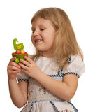 Pretty little girl with Easter toy Royalty Free Stock Image