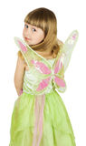 Pretty little girl in fairy costume on white background Royalty Free Stock Images