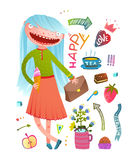 Pretty little girl fashion girlish design elements. Teenager kid and signs symbols collection in watercolor style. Vector illustration stock illustration