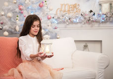 Pretty little girl with flashlight Royalty Free Stock Photo