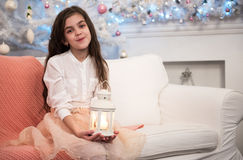 Pretty little girl with flashlight Stock Photo