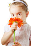 Pretty little girl with flower Stock Photos