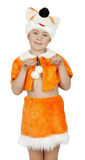 Pretty little girl in fox costume on the white background Royalty Free Stock Images
