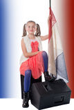 A pretty little girl  with a french flag Stock Photo