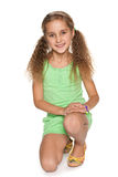Pretty little girl in green Royalty Free Stock Images