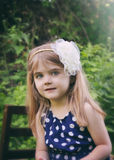 Pretty Little Girl in Green Nature royalty free stock photo